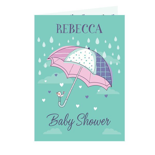 Personalised Baby Shower Umbrella Card white background