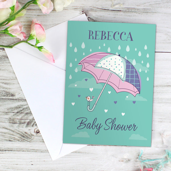 Personalised Baby Shower Umbrella Card with personalised name