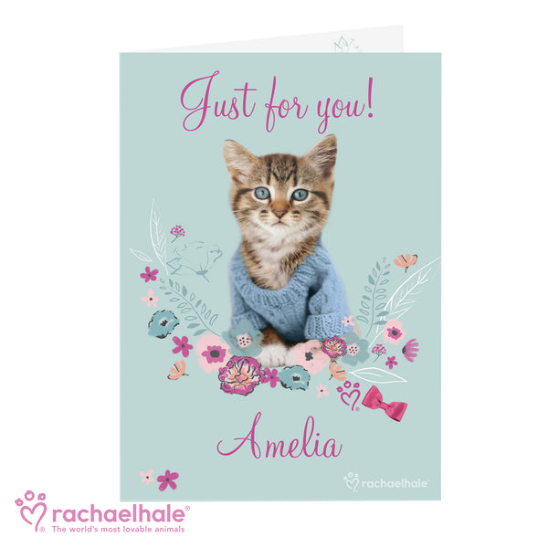 Personalised Rachael Hale Cute Kitten Card white background