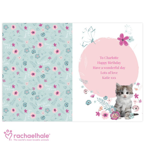 Personalised Rachael Hale Cute Kitten Card from Sassy Bloom Gifts - alternative view