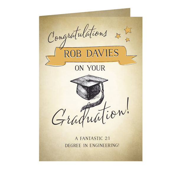 Personalised Gold Star Graduation Card white background