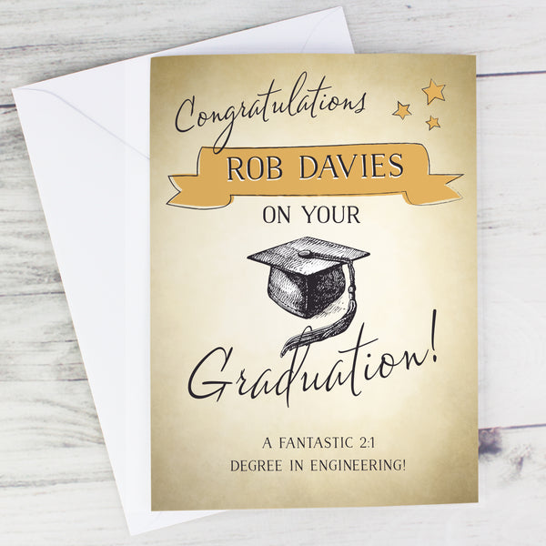 Personalised Gold Star Graduation Card with personalised name