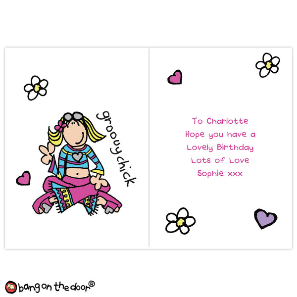 Personalised Bang on the Door Groovy Chick Card from Sassy Bloom Gifts - alternative view