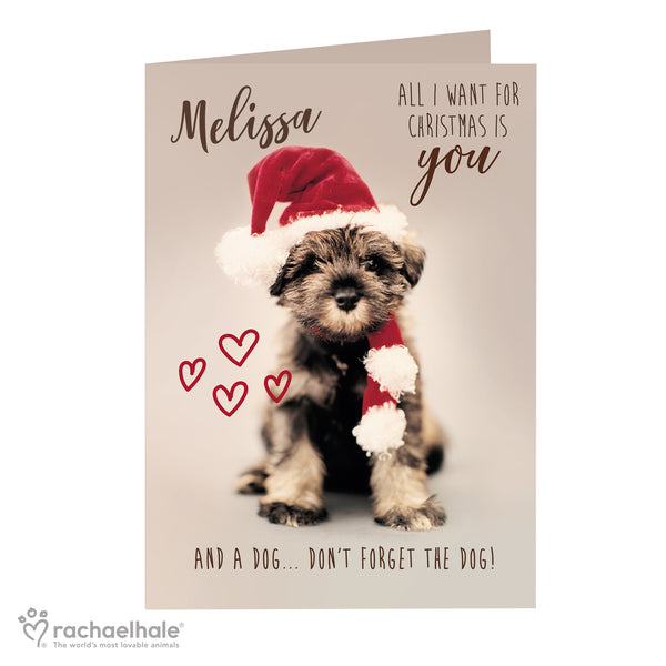 Personalised Rachael Hale 'All I Want For Christmas' Puppy Card white background