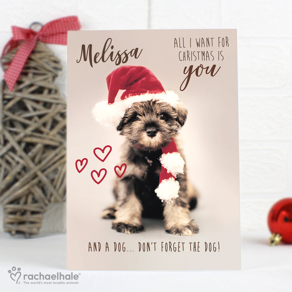 Personalised Rachael Hale 'All I Want For Christmas' Puppy Card with personalised name