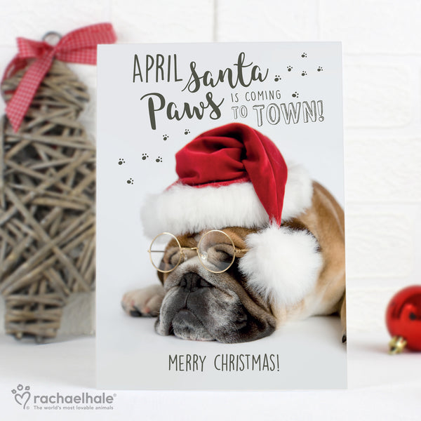 Personalised Rachael Hale Santa Paws Christmas Bulldog Card with personalised name
