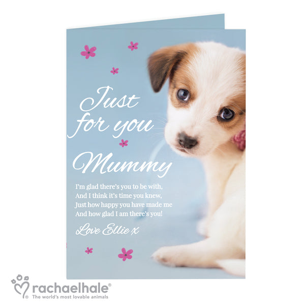 Personalised Rachael Hale 'Just for You' Puppy Card white background