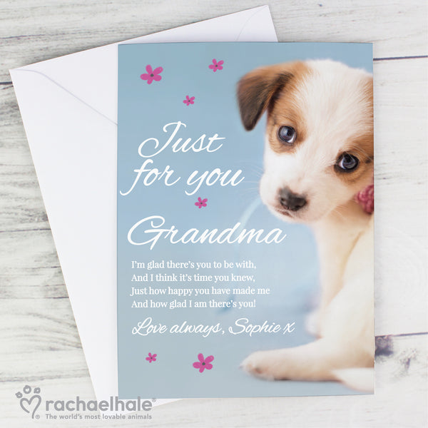Personalised Rachael Hale 'Just for You' Puppy Card with personalised name