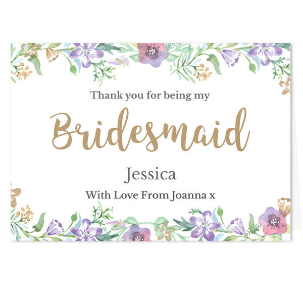 Personalised Bridesmaid 'Floral Watercolour Wedding' Card white background