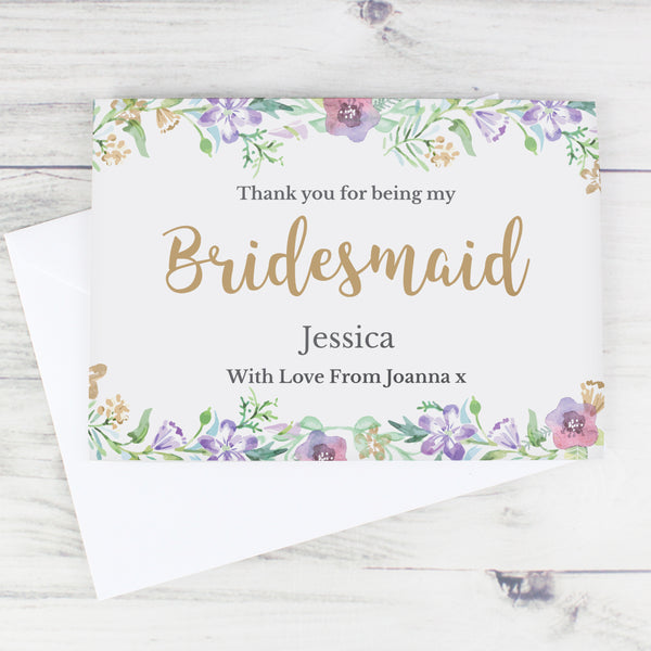 Personalised Bridesmaid 'Floral Watercolour Wedding' Card from Sassy Bloom Gifts - alternative view