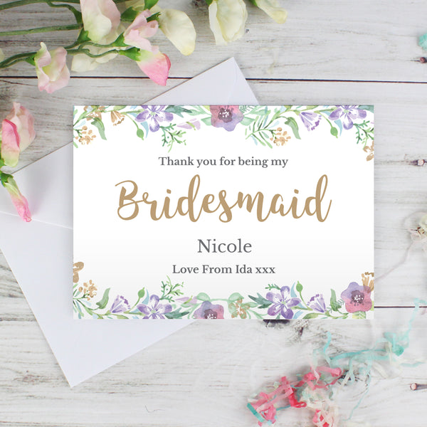 Personalised Bridesmaid 'Floral Watercolour Wedding' Card with personalised name