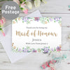 Personalised Maid of Honour 'Floral Watercolour Wedding' Card