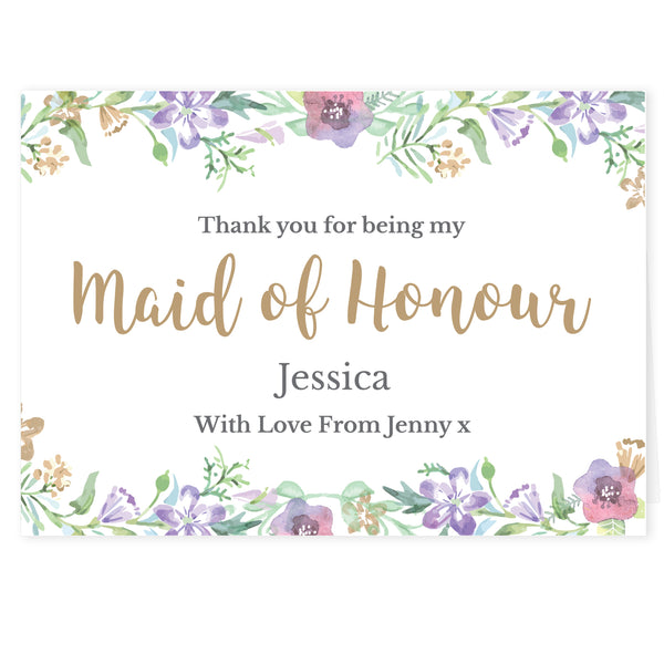 Personalised Maid of Honour 'Floral Watercolour Wedding' Card white background