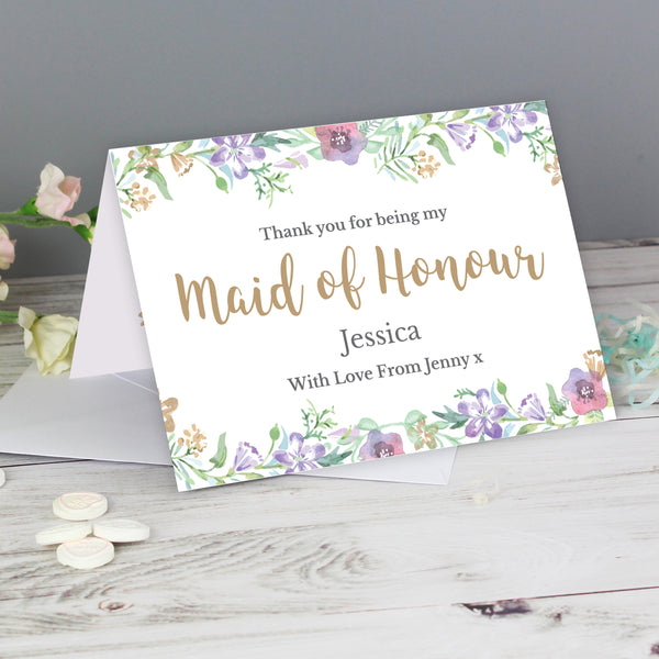 Personalised Maid of Honour 'Floral Watercolour Wedding' Card from Sassy Bloom Gifts - alternative view