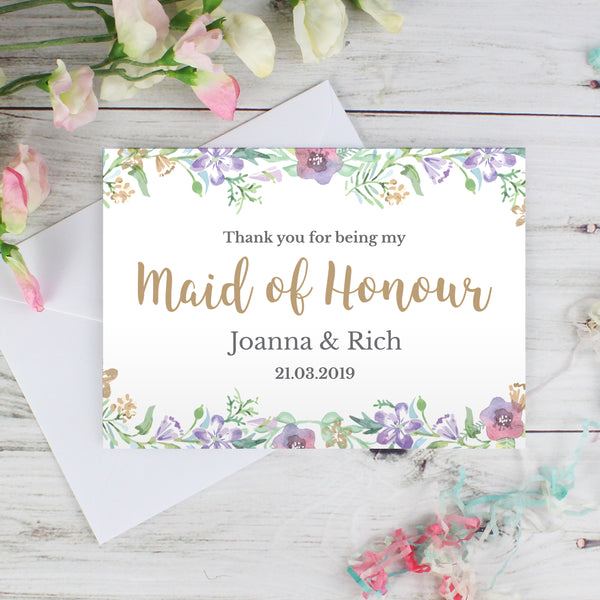 Personalised Maid of Honour 'Floral Watercolour Wedding' Card with personalised name