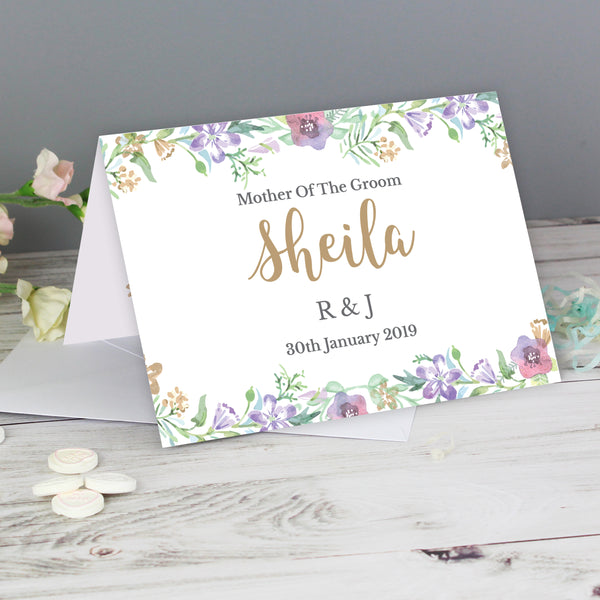 Personalised Gold Floral Watercolour Card lifestyle image