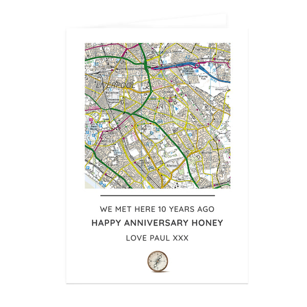 Personalised Present Day Map Compass Card white background