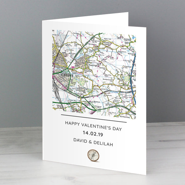 Personalised Present Day Map Compass Card with personalised name