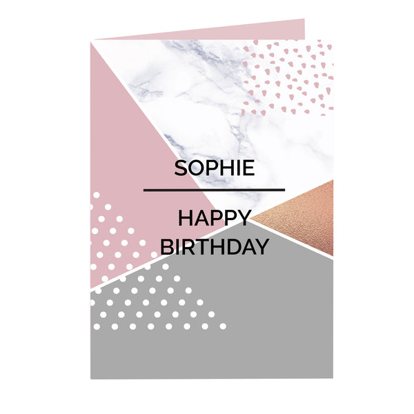 Personalised Geometric Card white background