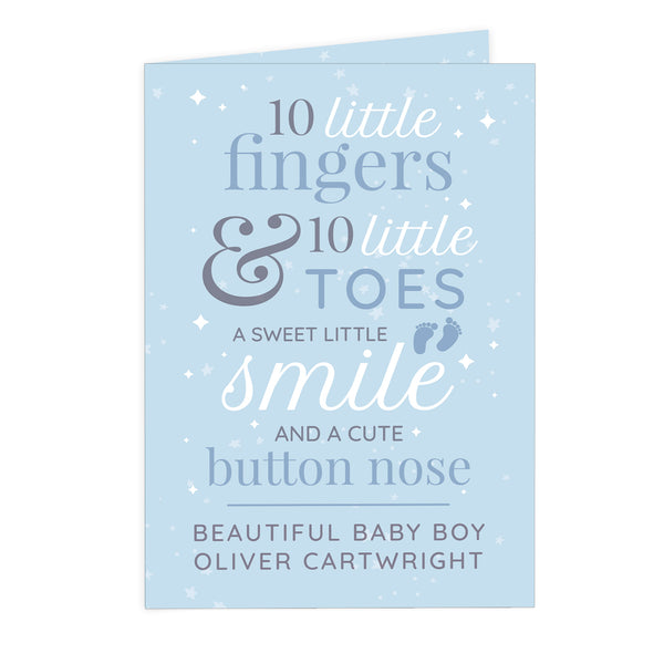 Personalised '10 Little Fingers' Blue Baby Card
