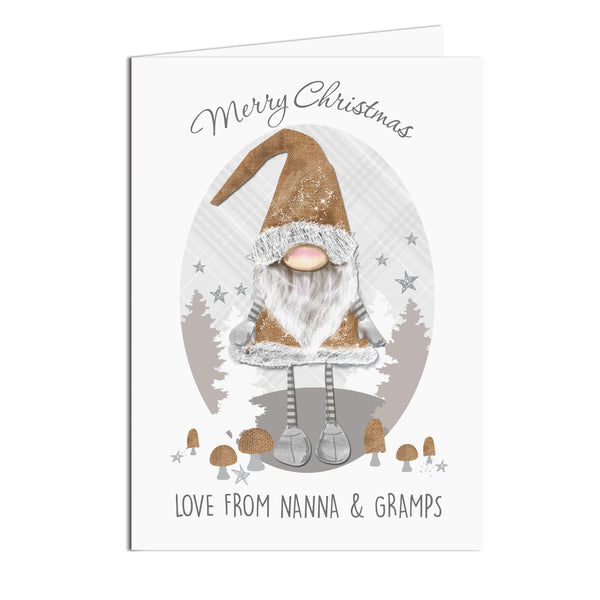 Personalised Scandinavian Christmas Gnome Card white background