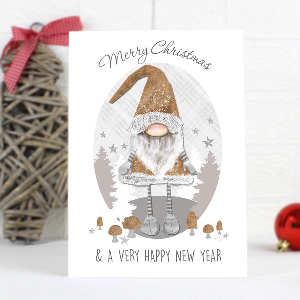 Personalised Scandinavian Christmas Gnome Card with personalised name