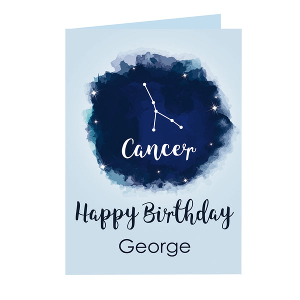 Personalised Cancer Zodiac Star Sign Card (21st June - 22nd July) white background