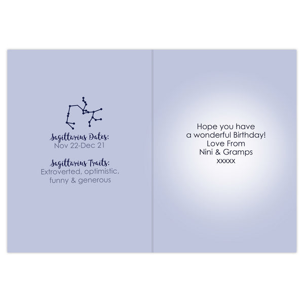 Personalised Sagittarius Zodiac Star Sign Card (November 22nd - December 21st) lifestyle image