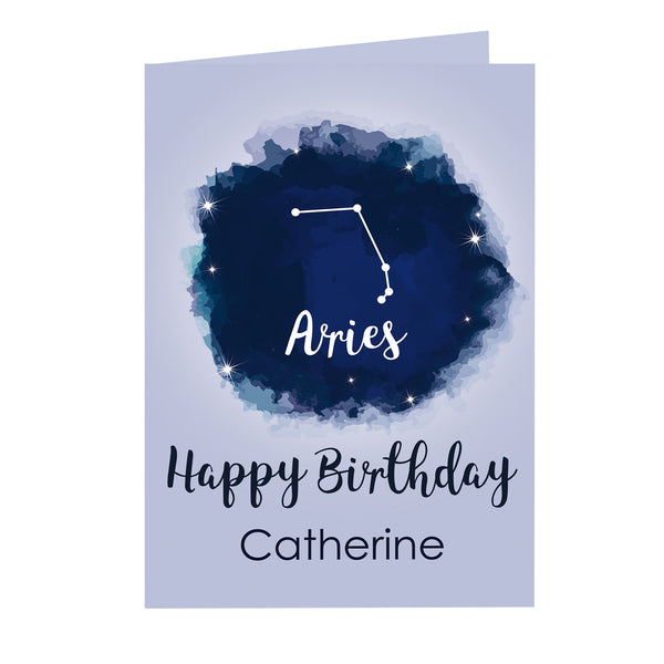 Personalised Aries Zodiac Star Sign Card (March 21st-April 19th) white background