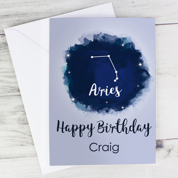 Personalised Aries Zodiac Star Sign Card (March 21st-April 19th) from Sassy Bloom Gifts - alternative view