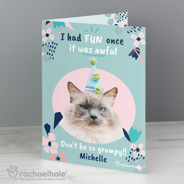 Personalised Rachael Hale 'I Had Fun Once' Birthday Cat Card lifestyle image