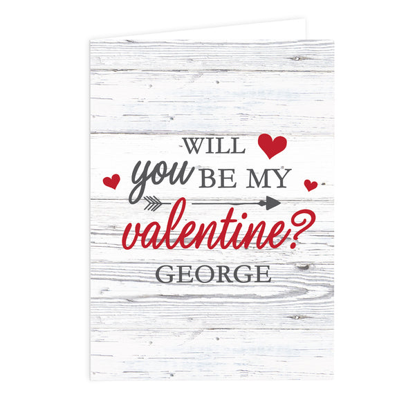 Personalised Be My Valentine Card white background