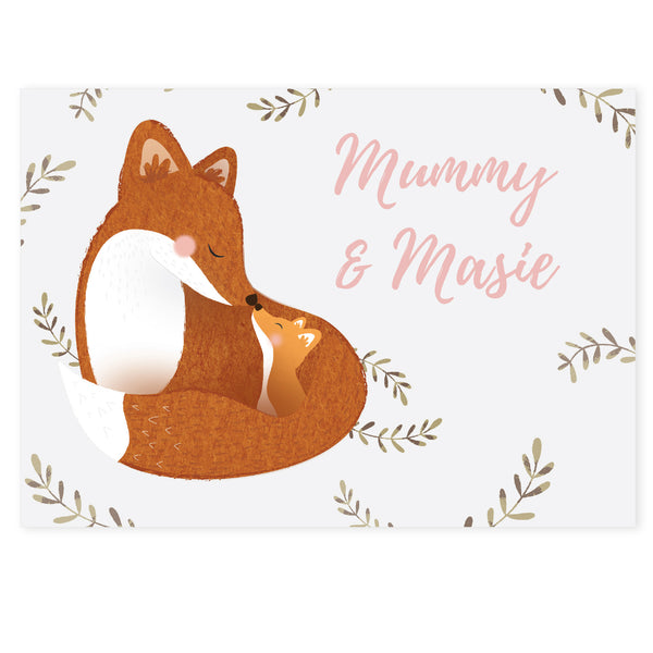 Personalised Mummy and Me Fox Card white background