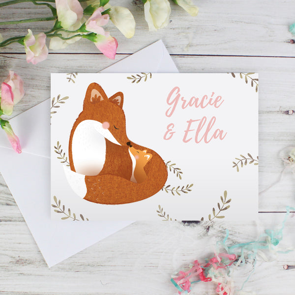 Personalised Mummy and Me Fox Card lifestyle image