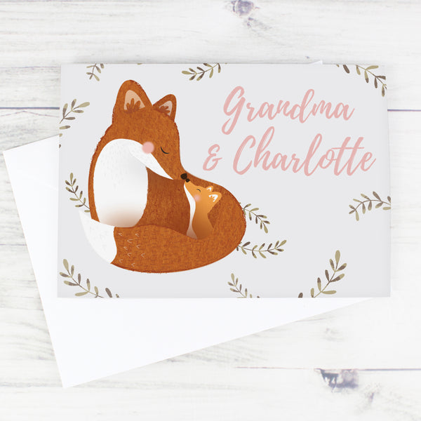Personalised Mummy and Me Fox Card with personalised name