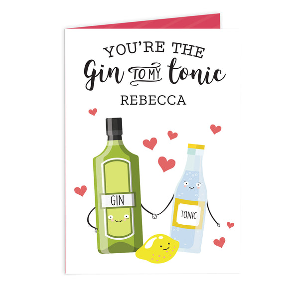 Personalised 'Gin to My Tonic' Card white background