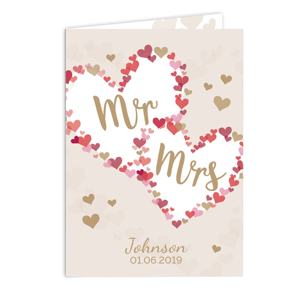 Personalised Mr & Mrs Confetti Hearts Wedding Card white background