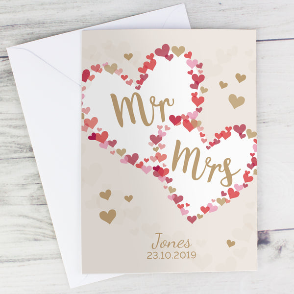 Personalised Mr & Mrs Confetti Hearts Wedding Card lifestyle image