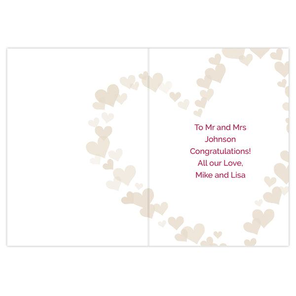 Personalised Mr & Mrs Confetti Hearts Wedding Card with personalised name