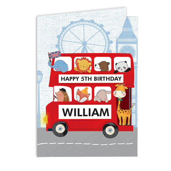 Personalised London Animal Bus Card white background