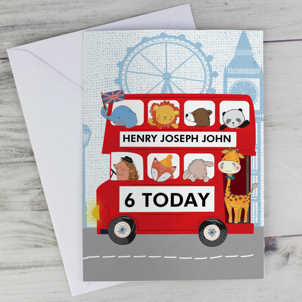 Personalised London Animal Bus Card with personalised name