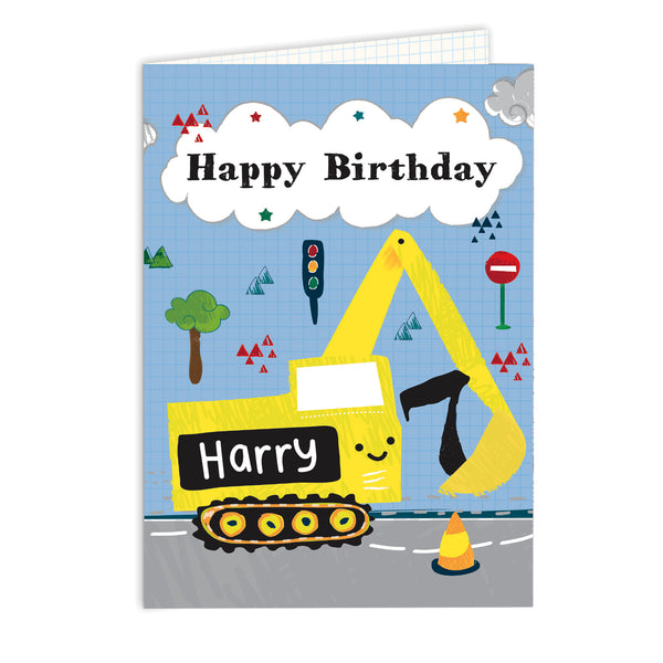 Personalised Digger Birthday Card white background