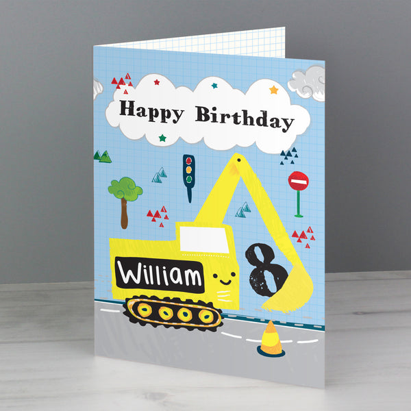 Personalised Digger Birthday Card from Sassy Bloom Gifts - alternative view