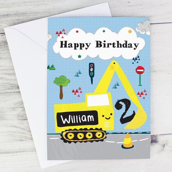 Personalised Digger Birthday Card lifestyle image