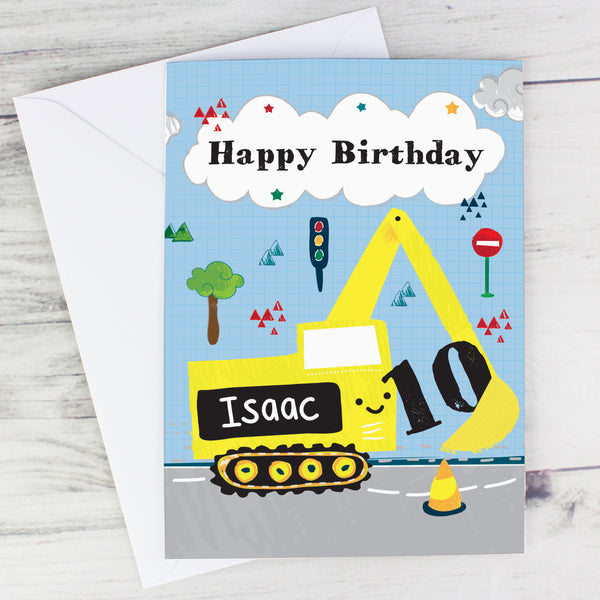 Personalised Digger Birthday Card with personalised name