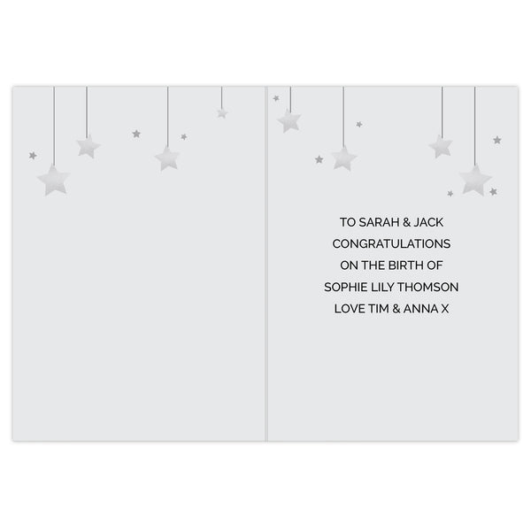 Personalised New Baby Moon & Stars Card white background