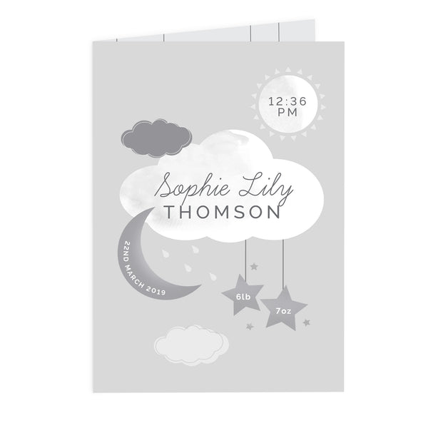Personalised New Baby Moon & Stars Card from Sassy Bloom Gifts - alternative view