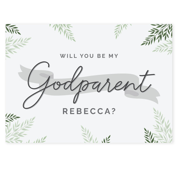Personalised Godparent Card white background
