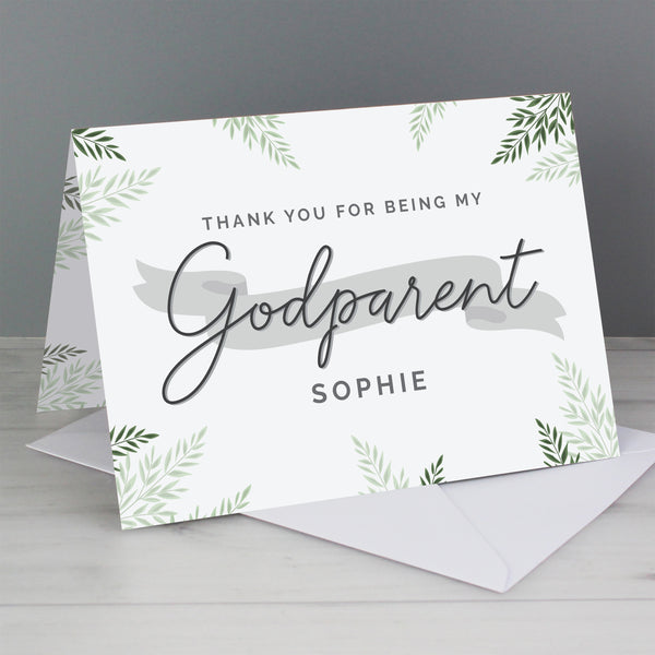 Personalised Godparent Card with personalised name