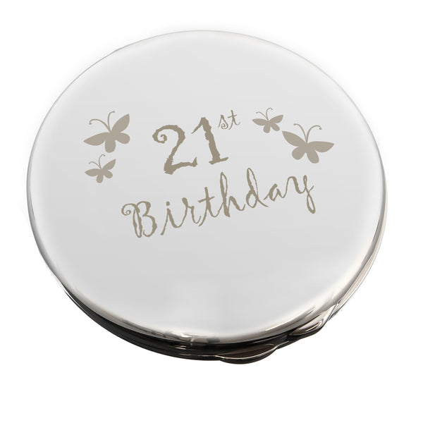21st Butterfly Round Compact Mirror white background